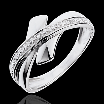 women White Gold and Diamond Tribal Initiation Ring