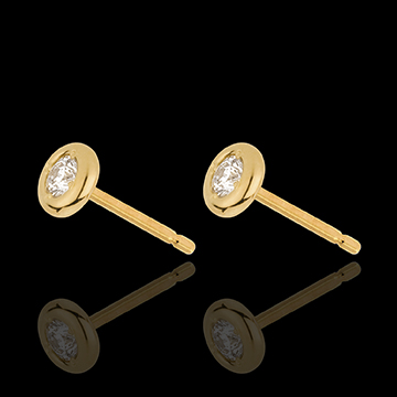 gifts Yellow Gold Doll Solitaire Stud Earrings