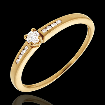 Geschenk Frau Solitär Octave in Gelbgold - 9 Diamanten