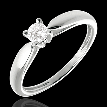 gold jewelry Solitaire tapered ring white gold - 0.21 carat
