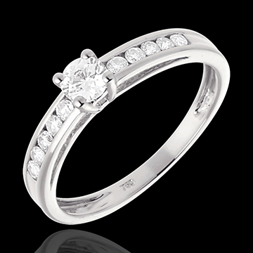 Geschenk Frauen Solitär Embellie in Weissgold - 0.39 Karat - 11 Diamanten