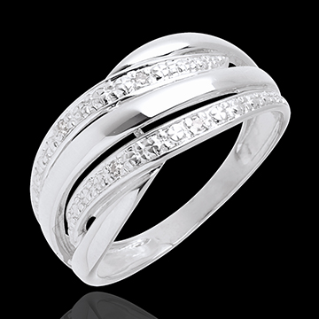 gold jewelry Naja ring white gold paved - 4diamonds