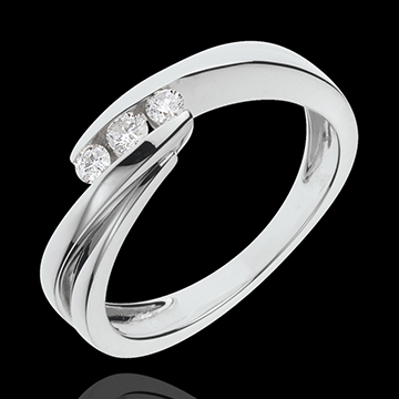gifts women Ring Trilogy Precious Nest - Ritournelle - white gold - 3 diamonds - 18 carat