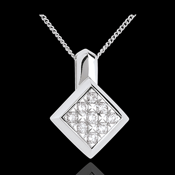 gold jewelry Checkerboard necklace white gold paved - 0.25 carat