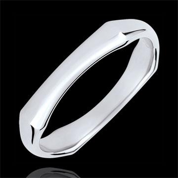 خاتم زواج رجالي الذغل المقدس ـ 4 مم ـ الذهب الأبيض 18 قيراط