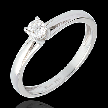 cadeau femme Solitaire Edelweiss - 0.21 carats - or blanc 18 carats