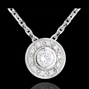 gifts woman Button Pendant white gold - 0.25 carat
