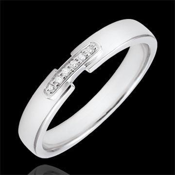 Frau Trauring Einzigartige Verbindung Weißgold und Diamanten