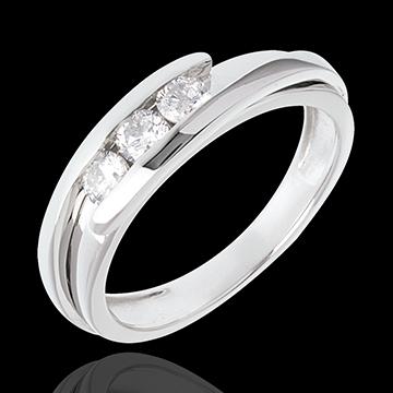 Schmuck Trilogie Ring Kostbarer Kokon - Anziehungskraft - Weißgold - 3 Diamanten 0.38 Karat - 18 Karat