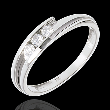on line sell Trilogy Precious Nest - Fusion - white gold - 0.16 carat - 3 diamonds - 18 carats
