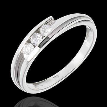 comprar on line Anillo espiral tres diamantes y oro blanco.- 3 diamantes - 0.16 quilates - 18 quilates
