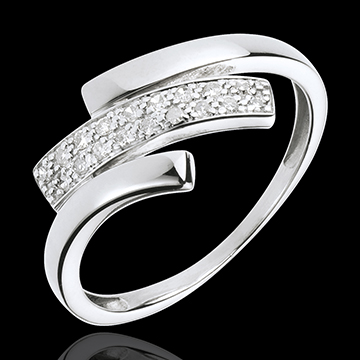 gift woman White Gold Feline Mark Ring