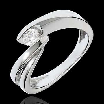 Geschenke Frau Solitärring Kostbarer Kokon - Undine - Weißgold - 1 Diamant 0.205 Karat - 18 Karat