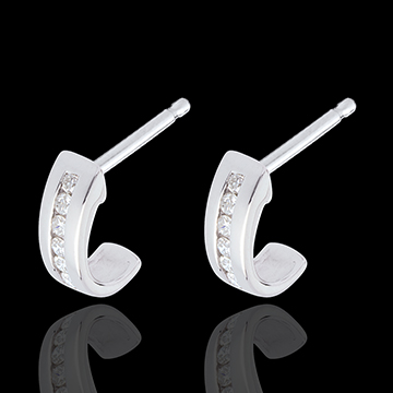 sales on line Half-moon earrings paved white gold - 12 diamonds