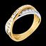 Geschenk Frauen Ring Ellipse in Weiss- und Gelbgold - 0.6 Karat - 23 Diamanten