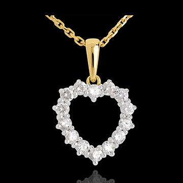 Verkäufe Kettenanhänger Herzrahmen - 0.9 Karat - 14 Diamanten