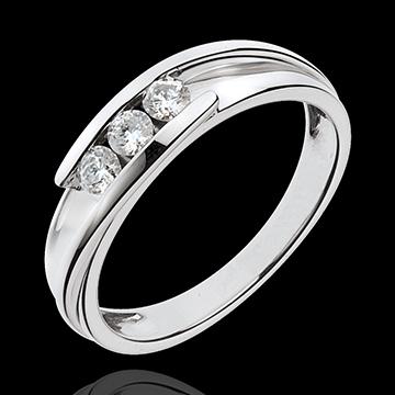 Geschenk Frau Trilogie-Ring Bipolar - Weißgold mit 3 Diamanten - 0.24 Karat