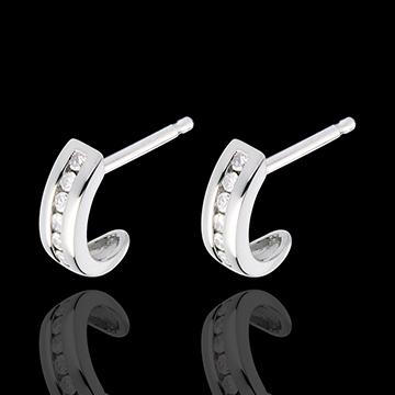 gifts women Half-moon earrings paved white gold - 12 diamonds
