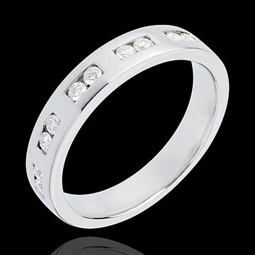 Geschenk Frauen Trauring zur Hälfte mit Diamanten besetzt in Weissgold - Kanalfassung - 0.22 Karat - 10 Diamanten