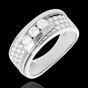 vente on line Bague Constellation - Trilogie pavée variation - 0.86 carat - or 18 carats