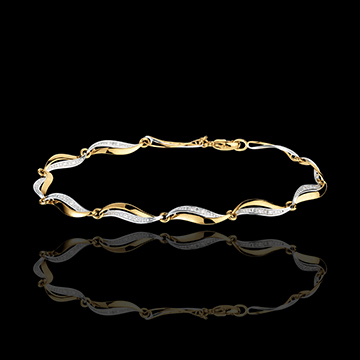 gifts Yellow Gold Twist Bracelet - 22 Diamonds