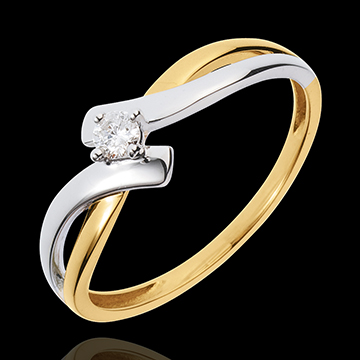 jewelry Solitaire Precious Nest - Chamalle - yellow gold and white gold - 0.08 carat diamond - 18 carats