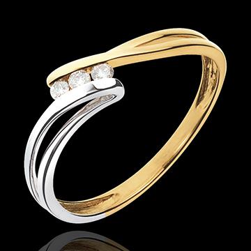 Geschenk Frau Trilogie Ring Kostbarer Kokon - Rauhreif -Weiß-und Gelbgold - Diamant 0.07 - 18 Karat