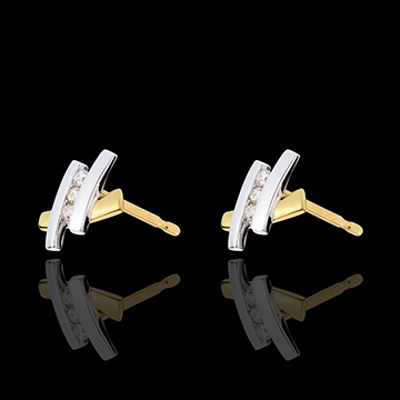 sell Earring Precious Nest - Golden Bridge - yello gold and white gold - 18 carats