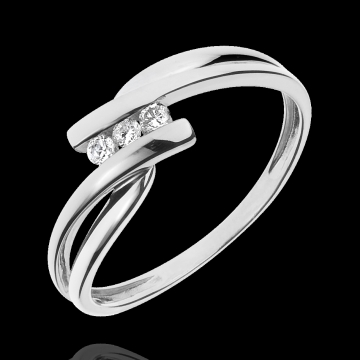 wedding Trilogy Ring Precious Nest - Tango- yellow and white gold - 0.07 carat - 18 carats