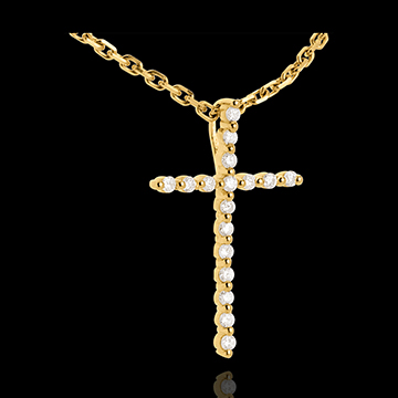 jewelry Paved cross pendant yellow gold - 17 diamonds