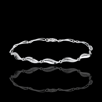 jewelry White Gold Twist Bracelet - 22 Diamonds