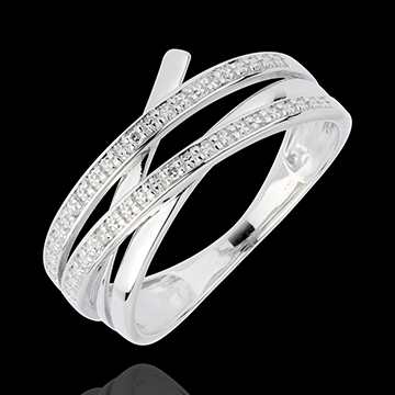 Hochzeit Ring Wirbel - Weißgold mit 6 Diamanten