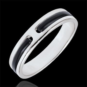 خاتم زواج پروميس من الذهب ـ 5 ملم ـ الذهب الأبيض 9 قيراط و الورنيش الأسود