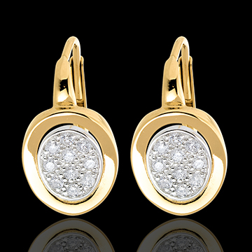 sell on line Studded alcove earrings paved white and yellow gold - 0.24 carat - 20diamonds