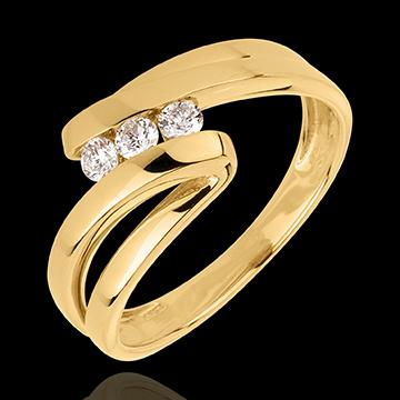 Frau Trilogie Ring Kostbarer Kokon - Najade - Gelbgold- 3 Diamanten - 18 Karat