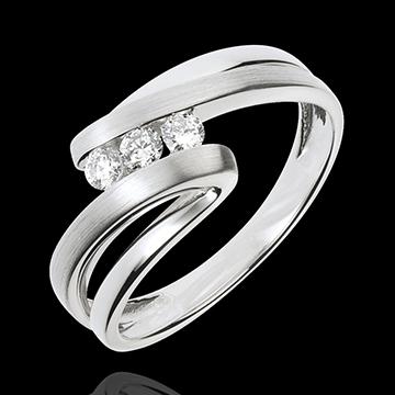present Trilogy Ring Precious Nest - Naiad - white gold - 3 diamonds
