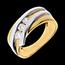 Obrączka Drogocenne Gniazdo z trzema diamentami - Priscilla - diament 0,31 karata - 3 diamenty - złoto białe i złoto żółte 18-ka