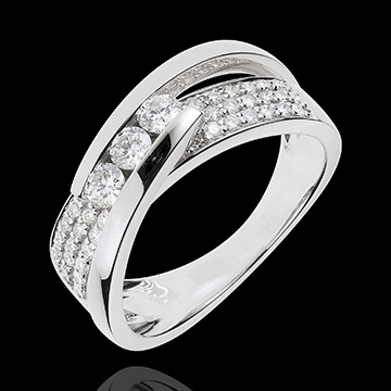 gift woman Ring Enchantment - Trilogy Funambule white gold paved - 0.62 carat - 45 diamonds
