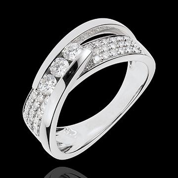 women Ring Enchantment - Trilogy Funambule white gold paved - 0.62 carat - 45 diamonds