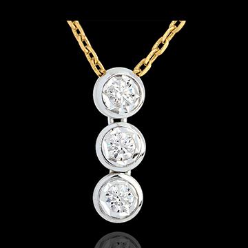 Geschenk Frauen Diamant Collier Trilogie Sternschnuppe in Weiss- und Gelbgold - 3 Diamanten