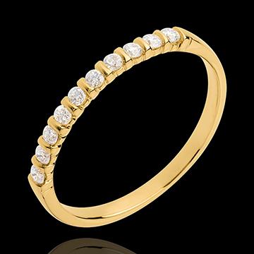 gold jewelry Wedding ring yellow gold semi paved-bar channel setting - 10 diamonds