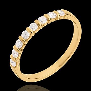 Geschenk Frauen Trauring semi pavé in Gelbgold - Krappenfassung - 0.3 Karat - 8 Diamanten