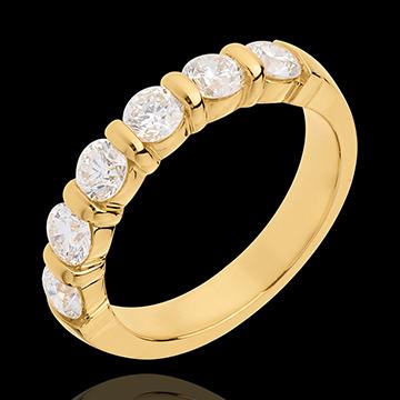 Geschenk Frauen Trauring semi pavé in Gelbgold - Krappenfassung - 1.2 Karat - 6 Diamanten