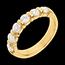 Geschenk Frau Trauring semi pavé in Gelbgold - Krappenfassung - 1.2 Karat - 6 Diamanten