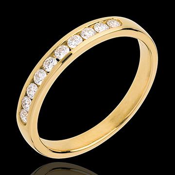 Geschenk Trauring zur Hälfte mit Diamanten besetzt in Gelbgold - Kanalfassung - 0.25 Karat - 10 Diamanten