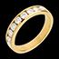 Fede nuziale - Oro giallo semi pavé - 18 carati - 9 Diamanti - incastonatura a binario - 0.75 carati