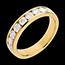 Verighetă din aur galben de 18K semi pavată - setare bară - 1 carat - 9 diamante