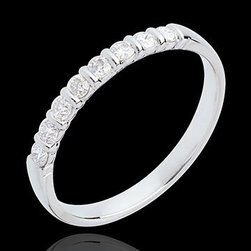Frau Trauring zur Hälfte mit Diamanten besetzt in Weissgold - Krappenfassung - 0.25 Karat - 8 Diamanten
