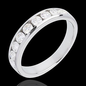 kaufen Trauring zur Hälfte mit Diamanten besetzt in Weissgold - Kanalfassung - 0.75 Karat - 9 Diamanten