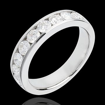 Geschenk Trauring zur Hälfte mit Diamanten besetzt in Weissgold - Kanalfassung - 1 Karat - 9 Diamanten